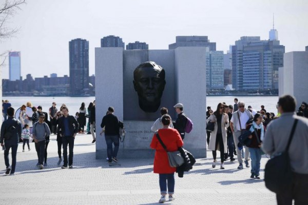 Visitors toured the Four Freedoms Park's features....