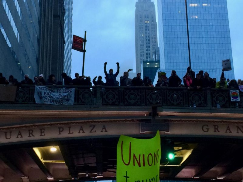 As foggy darkness gathered, we were cheered by spectators on the overpass to Grand Central.