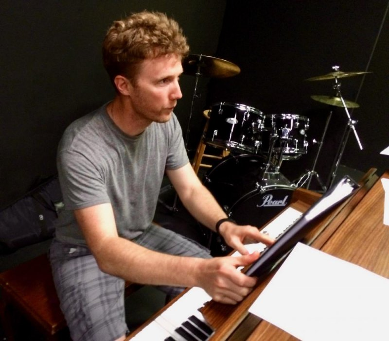 Composer Jonathan Fadner prepares in private