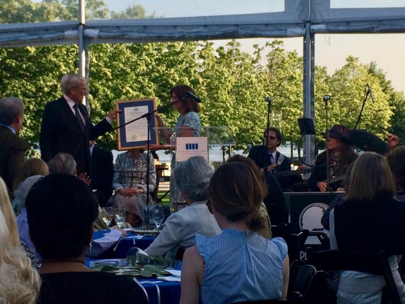 Lt. Governor Hochul presents Tom Brokaw with a plaque