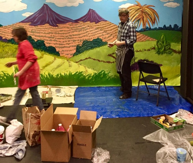 Dan Nistor and Connie Tanner at Work on the Scenic Backdrop for Seussical