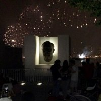 In perspective, FDR, Four Freedoms Park's inspiration, crowned with celebration.