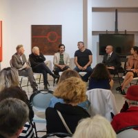Another East opening was preceded by a roundtable discussion about the art.