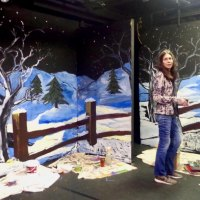 "Laura Hussey with nearly complete scenery for ""Almost Maine"""