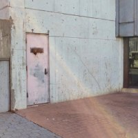 An exterior door, once bright Roosevelt Island red tracks the decline
