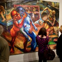 Visitors Absorbing a Kippur Nightmare in Dramatic Oils