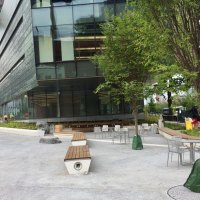I snuck past the construction gate to get a shot of the front of campus seating area beneath the Bloomberg Building.