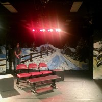 "Benches wait for hopeful lovers in ""Almost Maine"" setting"