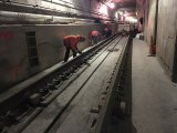 "Work on the lower level ""ghost"" tunnel under 63rd Street and Roosevelt Island."