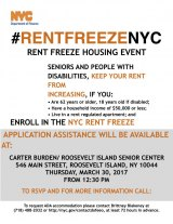 March 30th, Rent Freeze NYC at Carter Burden/RI Senior Center