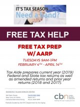Tuesdays, CBN/RI Senior Center, Free Tax Prep for Low/Moderate Incomes