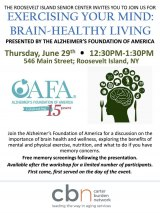 Thursday, June 29th, Exercising Your Mind: Brain Healthy Living at CBN/RI Senior Center