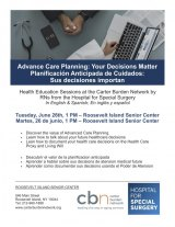 June 26th, Advanced Care Planning, CBN/RI Senior Center