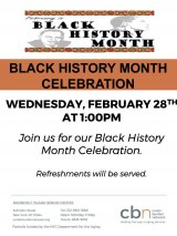 Black History Month Celebrated Tomorrow at CBN/RI Senior Center