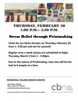 February 20th, Stress Relief Through Printmaking, CBN/RI Senior Center
