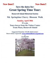 April 30th, Springtime Cherry Blossom Walk, Roosevelt Island Historical Society