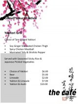 Special Cherry Blossom Festival Menu, Saturday, 11:00 to 5:00