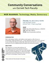 December 6th, Cornell Tech Community Conversation with Mor Naaman