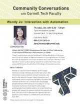 October 10th: Interaction with Automation, Community Conversation with Cornell Tech Faculty