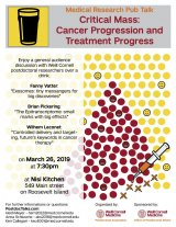 March 26th, Next Nisi Pub Talk, Critical Mass: Cancer Progression and Treatment with Weill Cornell Post Docs