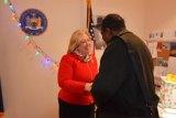 Rebecca Seawright greeting a constituent