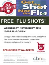 November 7th, Free Flu Shots, CBN/RI Senior Center