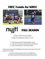 Big News: Free Tennis for Kids, Starting Saturday, September 15th