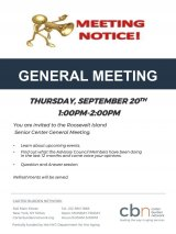 Calling All Seniors! General Meeting of the CBN/RI Senior Center