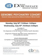 July 16 & 18 Genomic Psychiatry Cohort, CBN/RI Senior Center