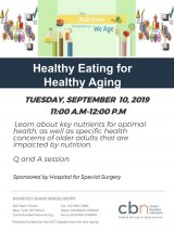Healthy Eating for Healthy Aging, September 10th, CBN/RI Senior Center