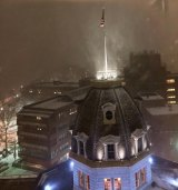 As the storm moved in, fresh snow swirled around The Octagon and Coler Specialty Hospital.