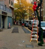 Holiday Decorations were strung outside Bubble Cool, last week, while the shop remained closed.