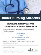 Mondays, 10:30 to 12:30, Free Health Checks, Hunter College Nursing Students, CBN/RI Senior Center