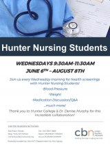 Wednesdays: Hunter College Nursing Students at CBN/RI Senior Center