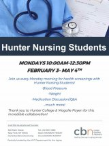 Mondays 10:00 to 12:30, Hunter College Nursing Students Return, CBN/RI Senior Center