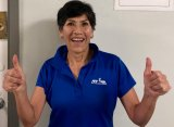 Asteria Howard coaches free New York Road Runners Striders classes at the Senior Center.