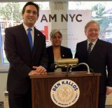 Ben Kallos welcomes IDNYC to Roosevelt Island earlier this year, joined by Carter Burden Network exec. Bill Dionne.