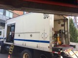 On Saturday, a mobile generator kept minimal operations going at the Roosevelt Island Subway Station.