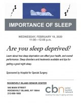 February 19th: Importance of Sleep, CBN/RI Senior Center