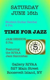 June 16th, End Roosevelt Island Day with a Jazz Salon, Gallery RIVAA