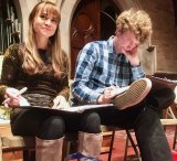 Common Man Musicals's Kimbirdlee and Jonathan Fadner at work, in January.
