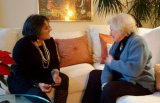 Louella Streitz visits with 95 year old Nina Claremont