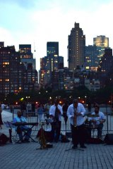 Musical performance, 2017, at Manhattanhenge, FDR Four Freedoms Park