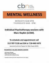 Mondays & Thursdays, Mental Health: Individual Psychotherapy Sessions, CBN/RI Senior Center