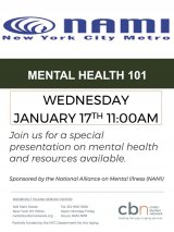 January 17th, Mental Health 101, 11:00 a.m., CBN/RI Senior Center, 546 Main Street