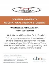 "February 28th , 1:00 P.M. ""Nutrition and Cognition: Brain Foods"" CBN/RI Senior Center"