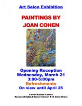 March 21st, Paintings by Joan Cohen, CBN/RI Senior Center