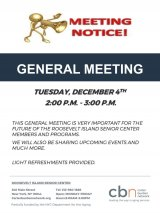 December 4th, General Meeting, CBN/RI Senior Center