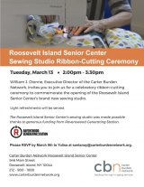 TODAY, March 13th, Sewing Studio Ribbon Cutting CBN/RI Senior Center