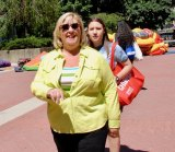 State Assembly Member Rebecca Seawright visited with her daughter on Roosevelt Island Day.